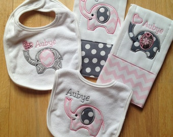 Set of 4 burp cloths and bibs with elephant appliqué and chevron