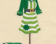 Celtic Irish Luck o the Irish Lady Dress Embroidered Flour Sack Hand Towel