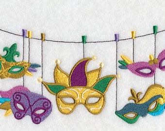 Mardi Gras Mask Clothesline Embroidered Flour Sack Hand Towel