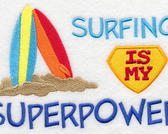 Surfing is My Superpower Embroidered Flour Sack Hand/Dish Towel