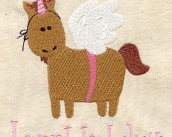 I Want to Believe Horse Unicorn Embroidered Flour Sack Hand/Dish Towel
