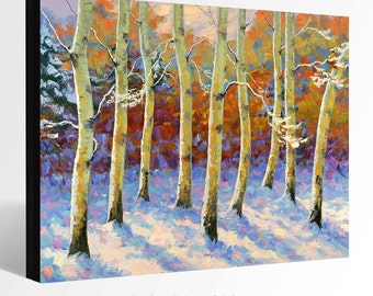 OIL Painting  Giclee Print Canvas Print Fine Art Print of ORIGINAL Painting LANDSCAPE Painting Aspen Painting  Fall Trees Painting