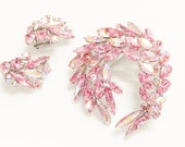 Vintage Sherman PiNK Rhinestone Brooch Earrings signed