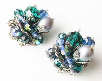 Original by Robert Green Blue Silver Beaded Earrings 60s