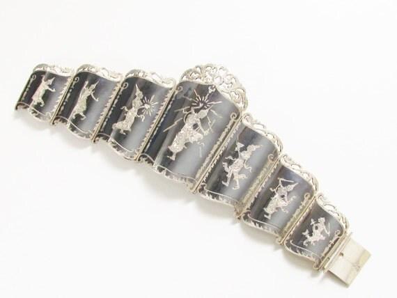 Huge Vintage Siam Sterling Nielloware Niello Bracelet