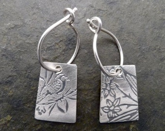 Indra Earrings - Bird/Dogwood
