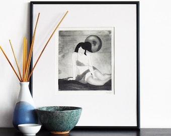 Original Etching Print Erotic Geisha SHY GIRL Asian Fine Art Aquatint Printmaking Nude Print Poetic Hand Pulled Limited Edition 10x10