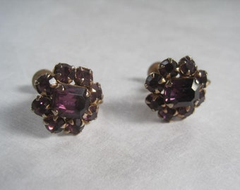 Vintage 1960s Earrings Purple Glass Faux Amethyst Goldtone Screw Back Feminine