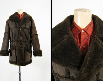 Vintage 70s Shearling Coat Men's Brown Sheepskin Mountain Man Leather - Size 38