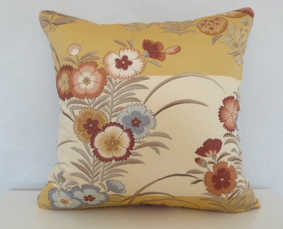 Jacobean Decorative Pillows : Jacobean Floral Decorative Pillow Yellow Red Blue Floral by Tanche