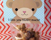 Teddy BLUE-  Bear Love  Valentine  Card Craft Digital Printable U PRINT- Instant Download