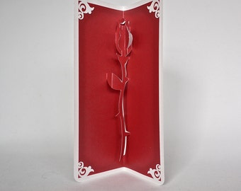 VALENTINE's Day ROSE 3D Pop Up Card Handmade Hand Cut in Bright Red and White One Of A Kind