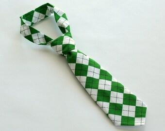 Boys Necktie, St. Patrick's Day Tie, Little Boy Toddler Tie, Green Argyle Necktie, READY TO SHIP