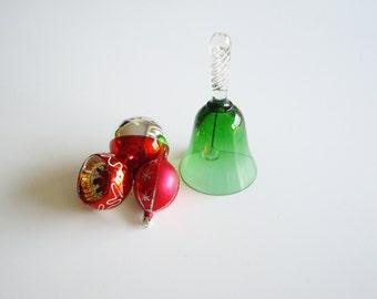 Vintage Glass Bell, Christmas Bell, Green Glass, Made in Poland, Art Glass, Bell Collector, Crystal Bell, Green Bell, Hand Blown