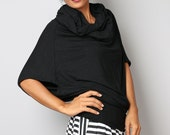 Black Tunic / Cowl Neck Tunic / Trendy Blouse Tunic / Black Top : Urban Chic Collection No.26