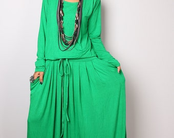 Kelsey Green Maxi Dress -  Long Sleeve dress : Autumn Thrills Collection No.1s  (Best Seller)