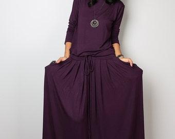 Maxi Dress -  Long Sleeved Dark Purple Modest Dress : MODEST Collection No.1s