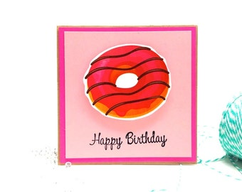 Happy Birthday Card -  Strawberry Donut card - Funny Birthday Card with brown kraft envelope