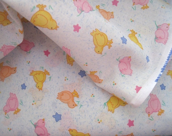 Items similar to pink and yellow baby chicks on pale blue for Yellow baby fabric