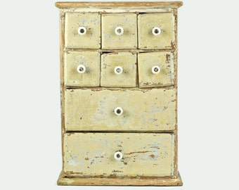 Antique 19th Century Wooden Spice Cabinet with Original White Porcelain Knobs