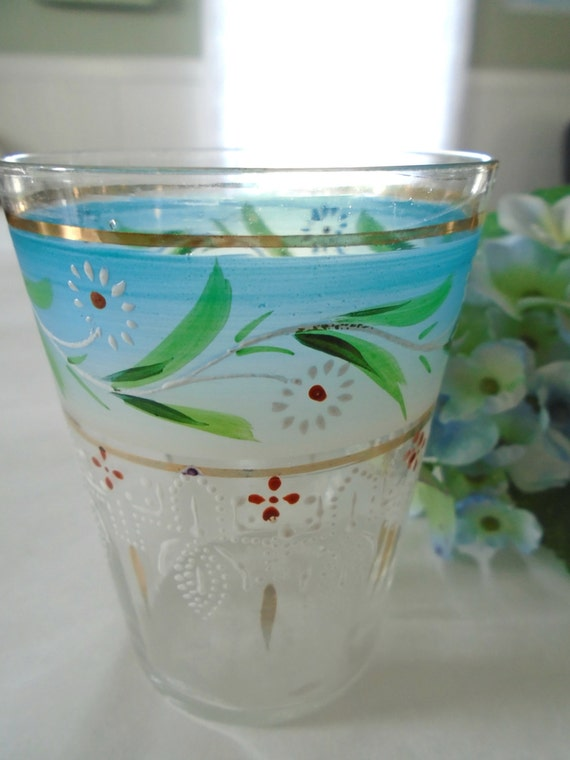 Vintage hand painted glass drinking glass blue by for Hand painted drinking glasses