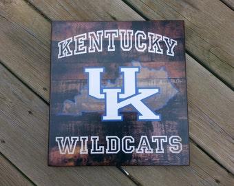 UK University of Kentucky Wildcat distressed wood plaque, 12x12, originial design, gift, football, wildcats, wood sign