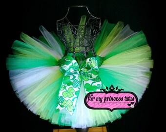 St. Patricks Day Lucky Tutu - green and white tutu, toddler tutu, dress up tutu, birthday tutu, dance tutu, pageant tutu, wedding tutu, TUTU
