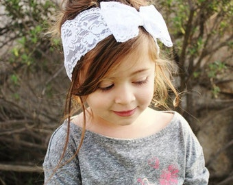 New { the Adeline } White lace bow headband . Newborn, toddler, child, teen, adult