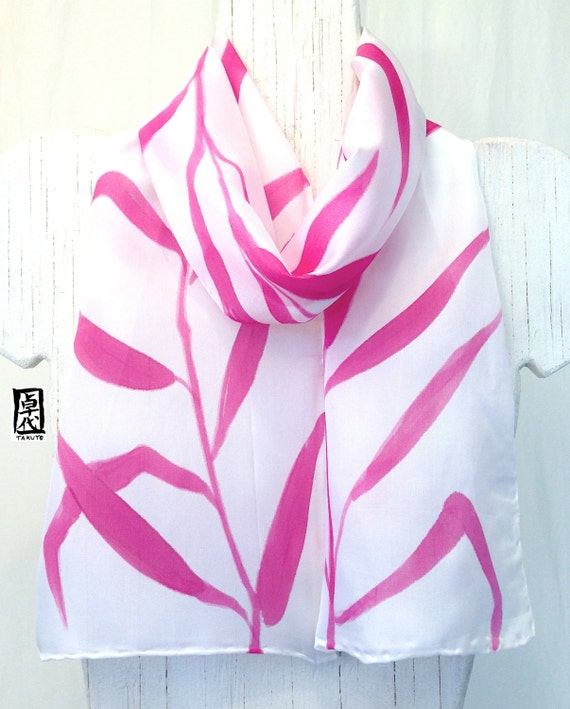 Small silk scarf Handpainted, ETSY, Pink and White Scarf Silk, Pink Zen Frond Scarf, Christmas Gift, Silk Scarves Takuyo, 8x54 inches.