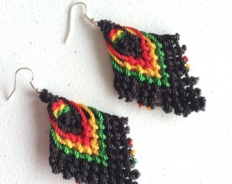 Handmade Rastafari Colors Macrame Earrings