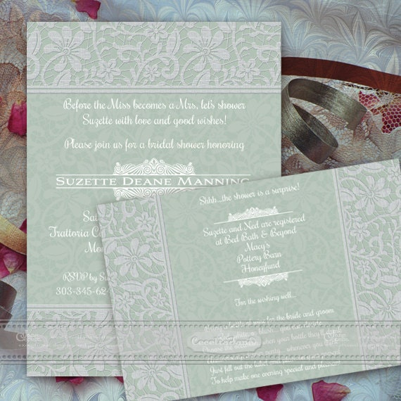 wedding invitations, sea foam bridal shower invitations, sage bridal shower invitaitons, wedding invitations and rsvp cards, IN365