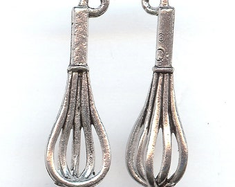 WHISK Charm. Pewter. One Sided. Half Whisk. Made in the USA.