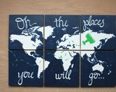 world map canvas . oh the places you will go . 6 - 12x12's . custom colors. hand painted original. navy blue, white, green, kelly green