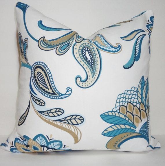 Pillow Cover Teal Blue Savannah Paisley Floral Throw Pillow Decorative Pillow 18x18