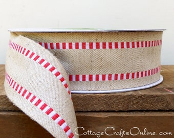 """Wired Ribbon 1 1/2"""" Natural Red White Check Stripe Cotton Burlap - THREE YARDS - May Arts,  Christmas / Decor / Craft Wire Edge Ribbon"""