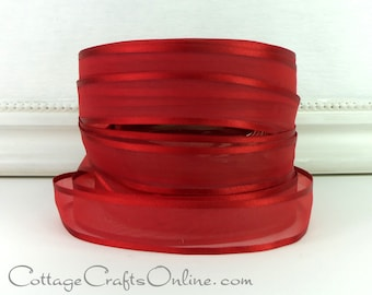 "CLEARANCE! Sheer Ribbon, 7/8"" Red Sheer with Satin Edge, FOUR YARDS,  Offray ""Dancer"" Wedding, Corsage, Valentine Christmas Craft Ribbon"