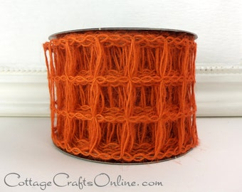 "Halloween Burlap Wired Ribbon, 2 1/2"", Orange Mesh Net Squares Natural Jute - TEN YARD ROLL -  d. stevens, ""Jute Squares"", Wire Edged Ribbon"