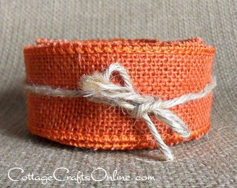 "Burlap Wired Ribbon, 1 1/2"", Orange Natural Jute - TWENTY FIVE Yard Roll - Offray, Halloween, Spring, Rustic Prim Wire Edged Ribbon #9"