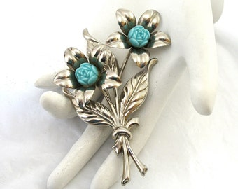 1940's Large Silver Brooch two flowers lucite centers