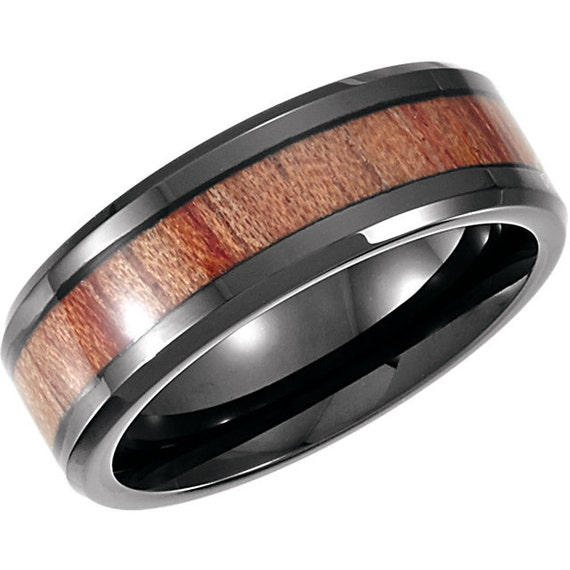men 39 s wood inlay wedding band in black by righteousrecycling