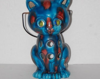 Cat Lantern Candle Holder Vintage Psychedelic Mod 60s 70s Kitty