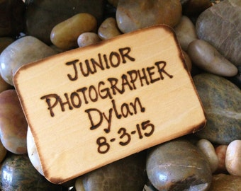 Wedding Lapel Pin Junior Photographer Badge for Your Nephew or Special Little Boy Personalized with HIS Name and Wedding Date