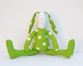 Stuffed bunny rabbit hare Easter bunny toy plush rabbit bunny green polka dots doll cute softie stuffed toy gift for boy girl