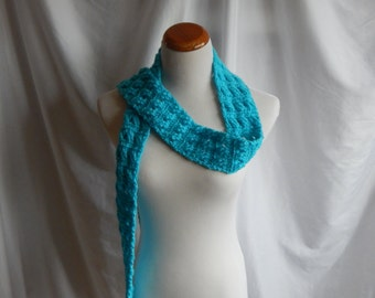 Crochet Skinny Scarf - Extra Long in Aqua