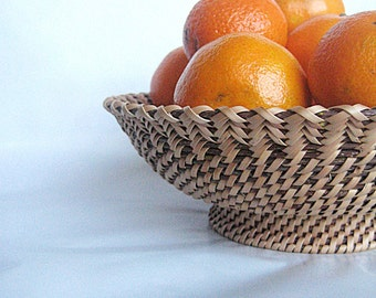 Woven vessel on foot Handwoven basket Rustic table centerpiece Eco gift home decor Mothers day table decor
