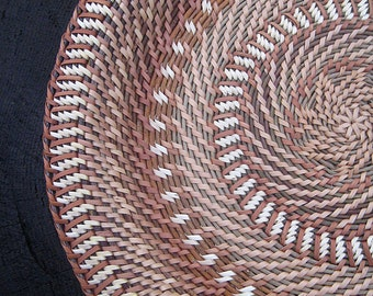Eco gift idea Woven plate Rustic interior home decor Ethnic wicker wall decor Wheat wheel pattern Rustic table decor