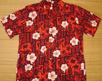 Mens Vintage 60's Tina's Tribal Tiki Rockabilly Hawaiian Aloha Shirt - L -  The Hana Shirt Co