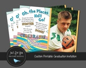 Oh the Places You'll Go Graduation Invitation - She'll Go, He'll Go, They'll Go - YOU PRINT Custom Printable Graduation Party Invitation