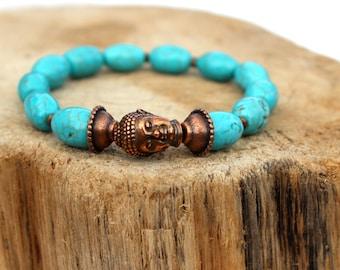 Copper and TURQUOISE Buddha mala bracelet