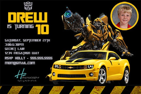 transformers birthday invitation personalized birthday party  etsy, Birthday invitations